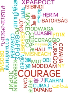 Background concept wordcloud multilanguage international many language illustration of courage